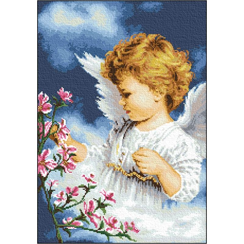 Вышивка крестом ангел цветочный 67