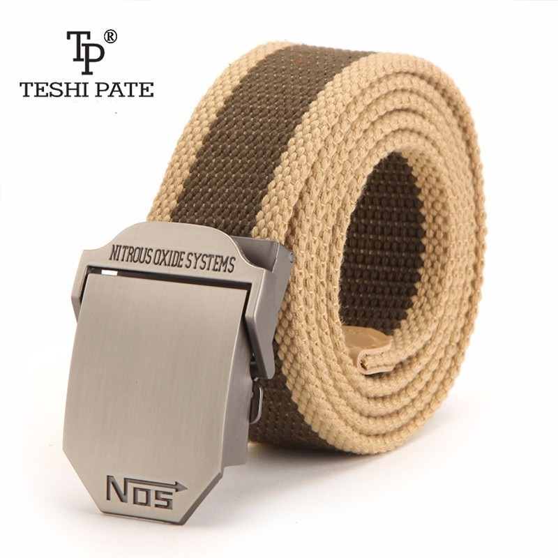 TESHI PATE TP Luxury men's thick casual canvas belts custom outdoor tactical belt military fans tactical youth belt 2018NEW