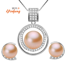 Lowest Price Fashionable Luxury Style Real Natural Pearl Sets Mosaic AAA Zircon Pendant and Earrings Charm Fine Accessaries