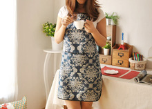 New Style Fashionable Sexy Home Kitchen Apron Cotton Linen Average Size Adjustable With Pocket Blue Color With Flower Printing