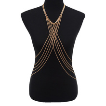 Lady Women Exaggerate Jewelry Sexy Design Gold Alloy Beach Multilayer Crossover Bikini Belly Full Body Chain Necklace BD013