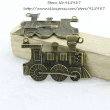 Sweet Bell 10pcs 31*46mm Antique bronze train Locomotive connector pendant cute charms DIY Jewelry Finding free shipping D0749