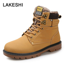 LAKESHI New Men Boots Fahsion 눈 Boot Men Ankle Boots Men Martin Boots 대 한 Men Shoes 와 퍼 Keep Warm 워크 Shoes Size 39-46(China)