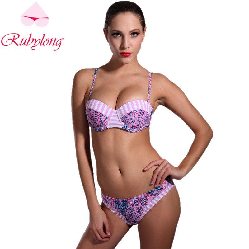 Rubylong 2017 Sexy Underwire Bikini Swimwear Women Lady Halter Push Up Padded Purple Swimsuit Bikini Set Beachwear Bathing Suit<br><br>Aliexpress
