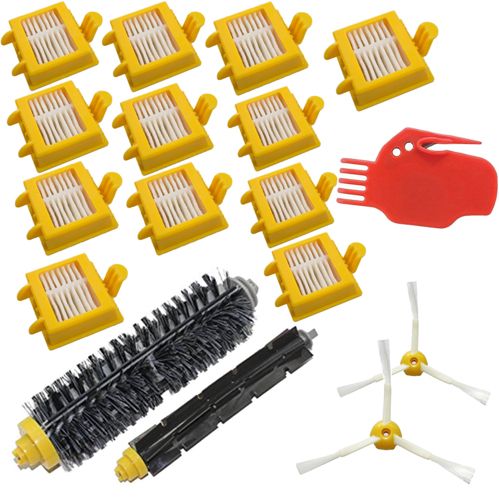 17 Pcs/Lot 3-armed Side brush &amp; Hepa Filter &amp;Hair Brush kit replace for iRobot Roomba 700 Series 760 770 780 790 vacuum clearner<br><br>Aliexpress