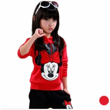 baby girls clothing sets cartoon minnie Mickey 2017 autumn children's wear cotton casual tracksuits kids clothes sports suit(China)