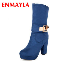 ENMAYLA High Heels Women's Mid Calf Boots Black Blue Yellow Winter High Heels Platform Shoes Woman Faux Suede Boots  Size 43