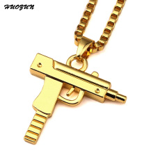 Golden Plated Pistol Gun Steampunk Necklace Star Jewelry Men Hip Hop Dance Charm Franco Chain Hiphop Necklace Choker N17002