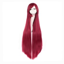 Hot sale Dark Red Ladies 100cm Cosplay Wigs Straight Wigs(China)