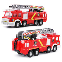 Original Box Playmobile Juguetes Fireman Sam Toys Fire Truck Car With Siren Toys For Boy  Educational Water Gun Toy Truck
