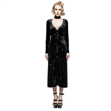 Gothic Women Retro-Minimalist Band Imitation Velvet Dress Coat Visual Steam Punk Black Sexy Party Dress Coats