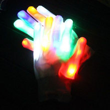 1Pair Colorful LED Glow Gloves Light Rainbow Flashing Finger Lighting Glow Mittens Magic luminous Gloves Party Accessory