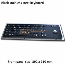 BLACK 64 Keys stainless steel keyboard with mechanical trackball, metallic industrial keyboard, standard kiosk keyboard