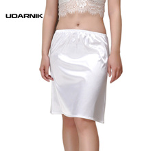 Women Satin Half Slip Underskirt Midi Petticoat Loose Fit Sexy Under Dress Summer Casual Wear White/Black/Champagne 45cm 038-656(China)