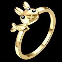 Gold Color Ring For Women Rabbit Fish femme Finger Rings  Crystal Animal Top Quality Wedding Ring Jewelry For Women