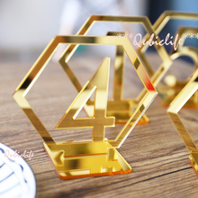 Hexagon Table Number Signs for Wedding Party Decor,silver or Gold Acrylic Number,Roman Numerals Geometric Boho Centerpiece