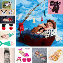 Crochet Baby Animal Hats and Diaper Sets Infant Baby Photography Props Crochet Baby Costume Clothes 1set MZS-14002(China)