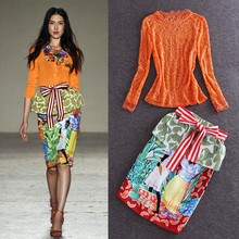 Lace Top Runway Exquisite Jacquard Printed Bag Hip Skirt Suit New Half Fall 2015 Couture Streetwear