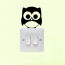 Cute Owl Vinyl Wall Decal Home Decor Funny Switch Sticker 3SS0053(China)