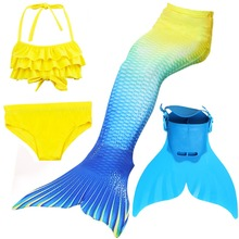 4pcs/set Swimmable Children Mermaid Tail Monofin Fin Girls Kids Swimsuit Little Mermaid Tail Costume Girls Swimming