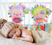 Happy Monkey Baby Rattle Stuffed Plush Doll crib bed hanging Ring appease Toys hand puppet pillow Puzzle Bell sheep Animal gift(China)