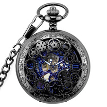 WOONUN Antique Skeleton Blue Roman Numerals Dial Black Alloy Case Mechanical Hand Wind Long Fob Chain Clock Men Pocket Watch