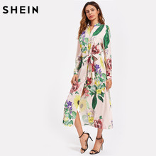 Buy SHEIN Self Belted Side Slit Floral Striped Shirt Dress Multicolor Long Sleeve V Neck Button Front Maxi Dress for $21.97 in AliExpress store