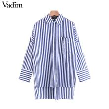 Vadim boyfriend style pearls beading striped loose shirts oversized pocket pleated blouse casual long tops blusas LT2182(China)