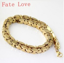Fate Love wholesale 5pcs Top quality jewelry  Stainless steel 8mm*57cm heavy  Solid chain necklace men's XMAS gifts  gold