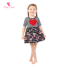 Kaiya Angel Valentine's Day Dress For Girl Girls Birthday Party Dress Toddler Black and white striped flowers Heart Dress(China)