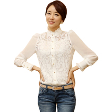 MAKE Hot Women's Long Sleeve Gauze See Through Sheer Blouse(China)