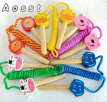AOSST Wooden children skip rope toys cartoon animals Children's fitness pupils skip rope toys The wooden handle(China)