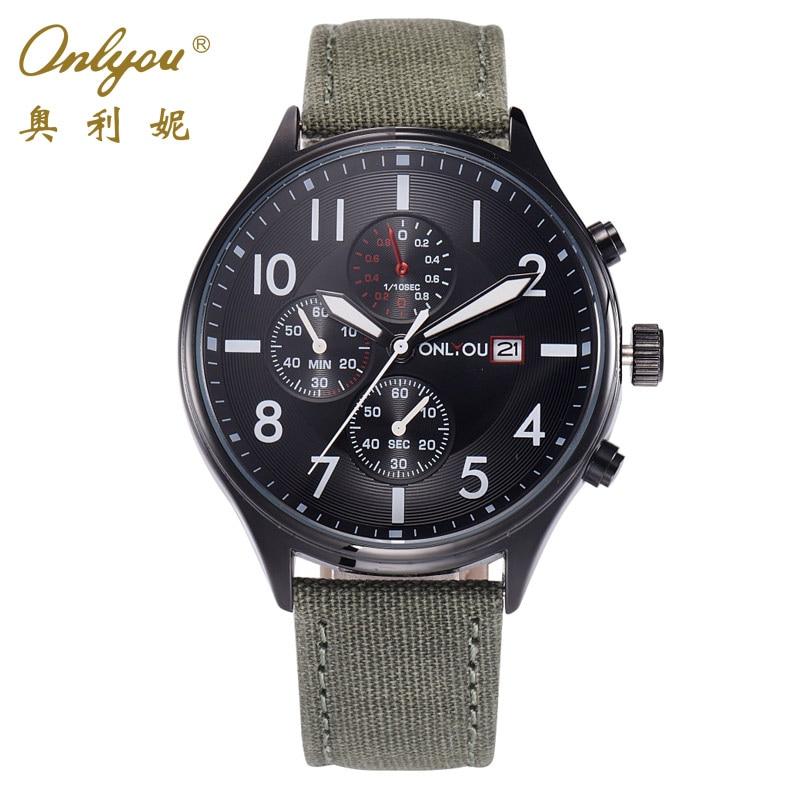 Onlyou 2017 Sport Watches For Men 3 Small Dials Quartz Watch Linen Strap Reloj Hombre Relogio Masculino Esportivo Clock 85005<br><br>Aliexpress