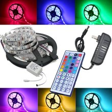 Waterproof LED RGB strip light SMD 5050 Light +remote control+ DC 12V Power Adapter RGB Fita LED Light Ribbon Lamp led strip set(China)
