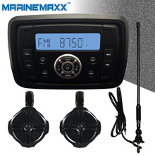 "Waterproof Marine Stereo MP3 Music Player + 1 pair 6.5"" Marine WakeBoard Tower Speakers Totaling 500W Boat Off-Road ATV UTV RZR"