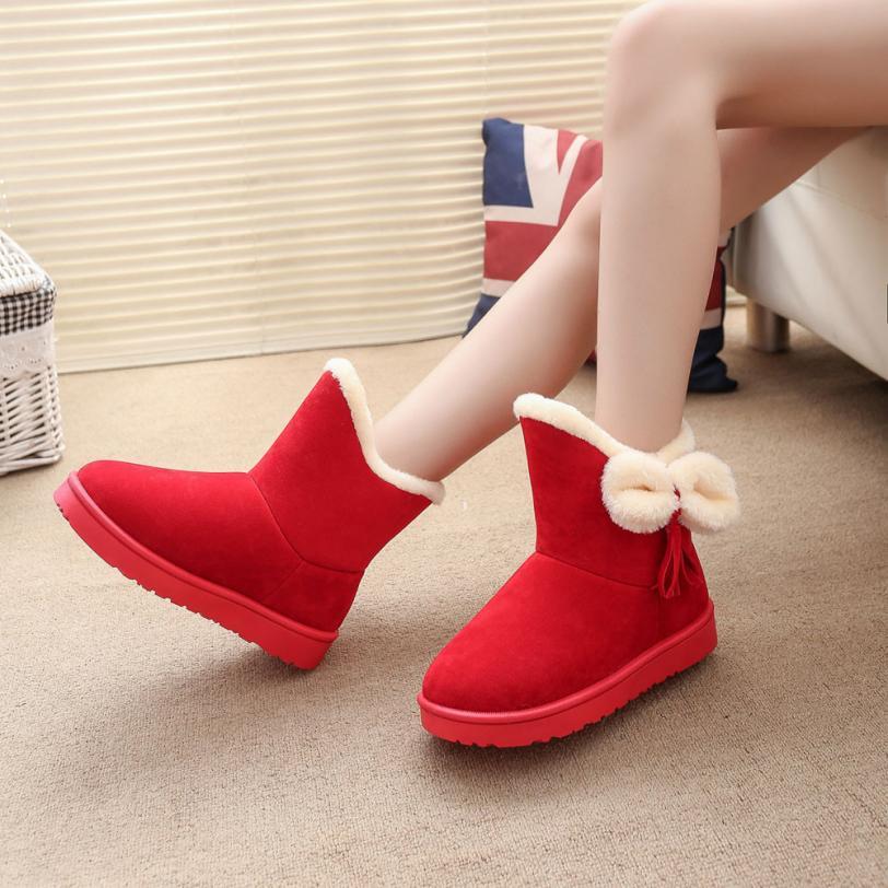 Best Gift Hot Selling Fashional Bowknot Warm Women Flats Shoes Snow Women Boots Autumn Winter Shoes Drop Shipping Dec30<br><br>Aliexpress