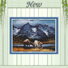 Romances under the snow mountains Scenery 11CT Counted print on Canvas DMC 14CT Cross Stitch diy Embroidery kits Needlework Sets