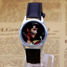Elvis Presley Fashion Wrist Watch For Boy Girl Black Leather Band Color Picture(China)