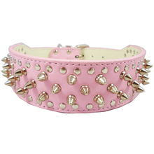 1PC Pink Color Spiked PU Leather Dog Pet Collars British Pitbull Mastiff Dog Collar Rhinestone Pet Accessories Dog Leash New Hot