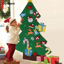 Ourwarm New Year Gifts Kids DIY Felt Christmas Tree Decorations Christmas Gifts for 2018 New Year's Door Wall Hanging Ornaments(China)