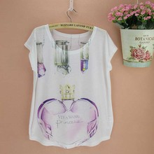 Perfume Bottle printed t shirt woman original design top tees cotton blending short sleeve tshirt 2015 new fashion summer tee