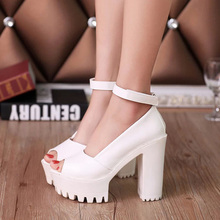 Solid color PU high heels women shoes sandals 2017 fashion sexy Fish head summer sandals woman