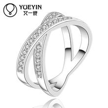 Hot Sale silver Ring With Crystal Pave Cubic Zircon Stone Nickel Free Mix Colors Jewelry Full Size With