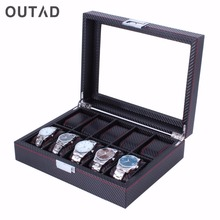 OUTAD 10/12 Girds Watch Mens Box Leather+Carbon Fibre+Suede Pillows Jewelry Display Fashion Watch Keep Casket Boxes Case Gift(China)