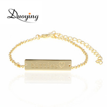 DUOYING Brand Baby 25*6 mm Bar Bracelet Custom Engraved Name Bracelet Personalized Initial Bracelet For Baby Etsy eBay Supplier