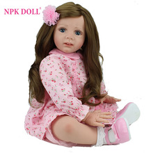 24 inch Reborn Baby Doll Lifelike Girls Vinyl Baby Toys Cute Soft Reborn Bebe Toddler Collection Dolls By NPKDOLL(China)