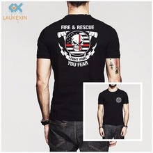Fashion Volunteer Firefighter Dept Fireman Fight Your Fear Fire and Rescue Men TShirt Brand Clothing Harajuku Print Cotton Shirt