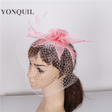 Attractive multiple colors sinamay fascinator headpiece with feather and veils adorned hair accessory wedding headwear TMYQ070