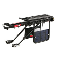 Solar Energy Bike Solar Rear Rack Carrier Rack Seatpost Universal Rear Mount for Bicycle Cargo Phone/Loudspeaker/Bike Light