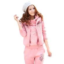 Women Casual Suits M-2XL Autumn Winter Warm Fleece Hoodies 3 Pieces Sets Sportswear Tracksuits Print Hooded Sweatshirt +pants